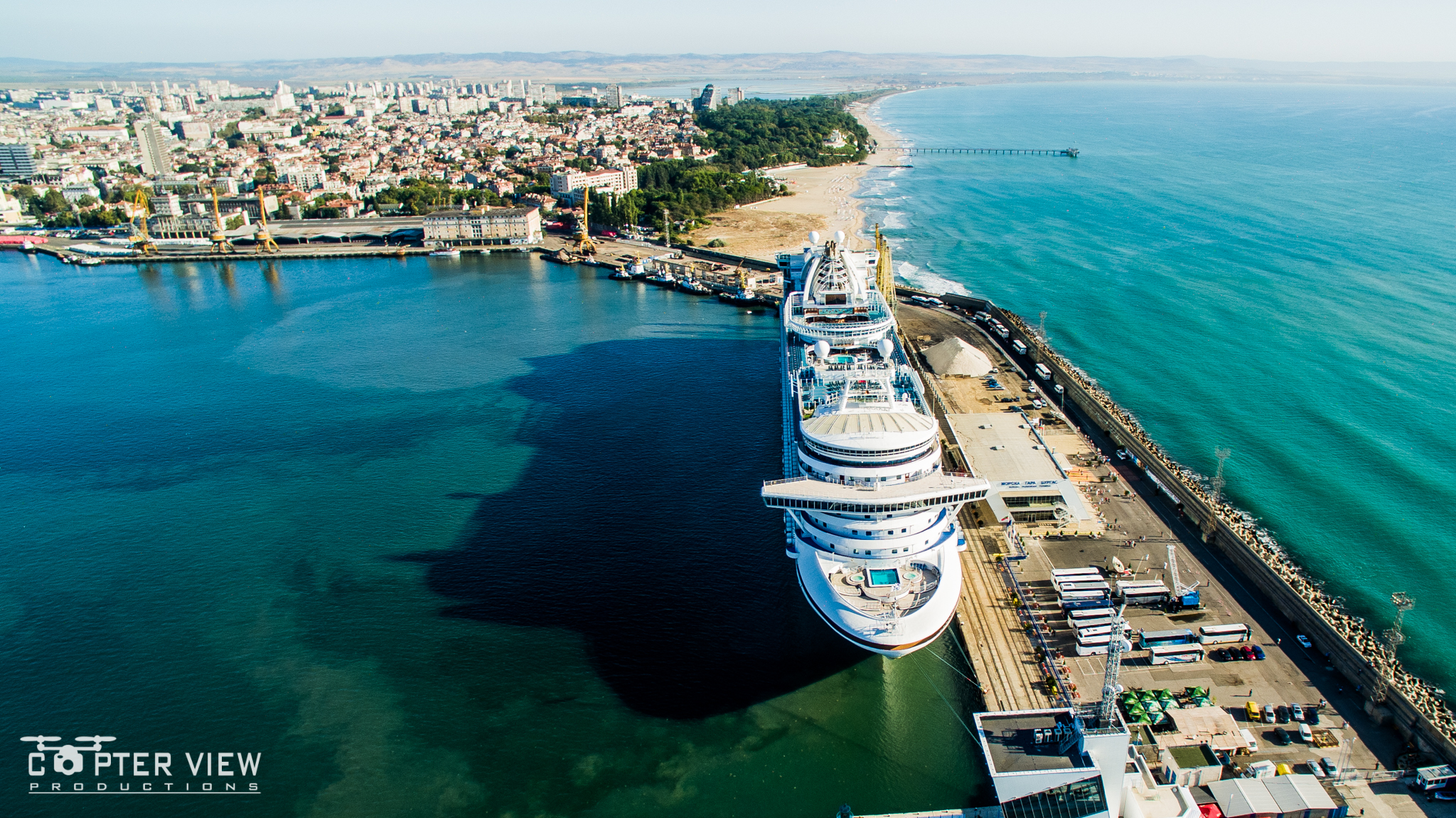 Drone video - Emerald Princess in Burgas